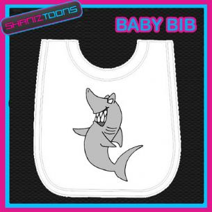 SHARK WHITE BABY BIB PRINTED DESIGN